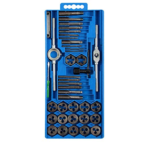 Juego de roscas y matrices métricas de 40 piezas M3-M12 con caja de almacenamiento Juego de corte de roscas de acero con alto contenido de carbono Herramientas de roscado Herramienta de roscado manual