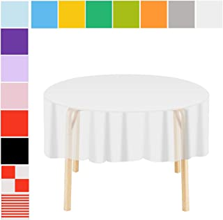 Etmury Plastic Tablecloth 6 Pack Disposable Round Table Covers 83 in. x 83 in. Indoor or Outdoor Parties Birthdays Weddings Christmas(White)