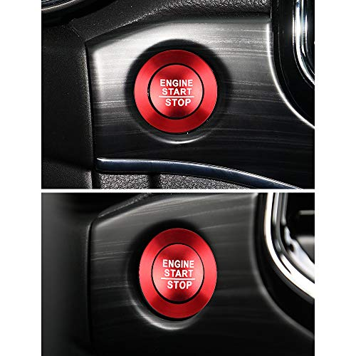 LECART 2Pcs Red Car Engine Start Stop Push Button Cover Trim Stickers Keyless Ignition Button Protector Metal Sticker Car Interior Accessory for Jeep Grand Cherokee 2014 2015 2016 2017 2018 2019