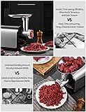 Elektrischer Fleischwolf, AICOK 3-IN-1 Wurstfüller Multi Küchenmaschine, Wurstmaschine mit 3 Edelstahlschleifplatten, 2 Klingen, Kubbe, Wurstrohre für den Hausgebrauch, CE Zertifiziert, 1341W MAX - 5