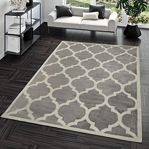 TT Home Kurzflor Teppich Modern Marokkanisches Design Wohnzimmer Interieur Trend Grau,...