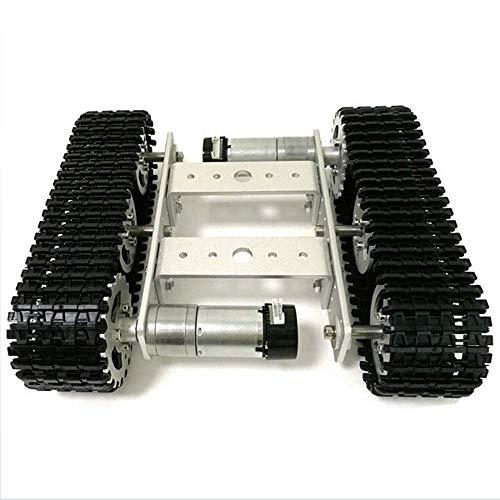 FWL DIY montierte verfolgte Roboter-Tank-Chassis-Smart-Auto-Plattform, dualer DC 9V-Motor und dauerhafter Aluminiumlegierungsmaterial für Erwachsene und Kinder, Weiß