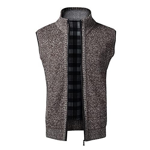 Otoño Invierno Hombres Suéter Capa Caliente Sin Mangas Cremallera Cardigan Hombres De Punto