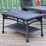 Jeco All-Weather Wicker Resin Outdoor Patio Coffee Table in Espresso