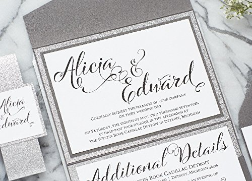 Personalized Extravagant Wedding Invitation with Glitter, Pocketfold Wedding Suite, Alicia Sample