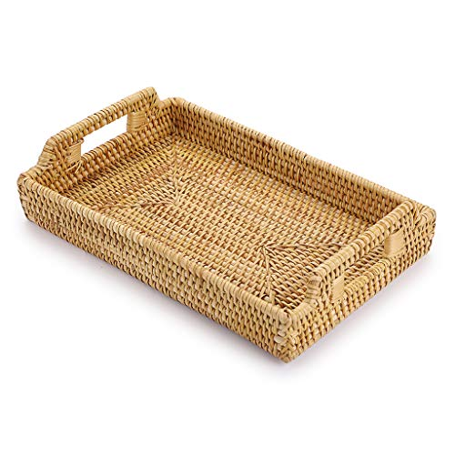 SUMNACON Rectangule Rattan Woven Serving Tray Decorative Display Tray Storage Platters with Handle Table Desktop Organiser Tray for coffer,Drink,Breakfast,Tea,Candle