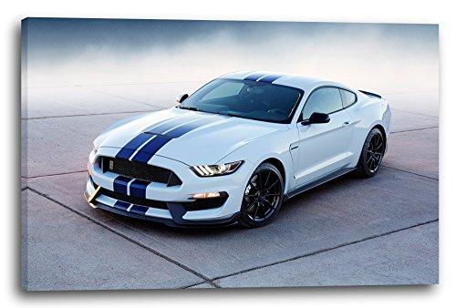 Printed Paintings Leinwand (100x70cm): Autobilder Ford Mustang weiß mit blauen Streifen