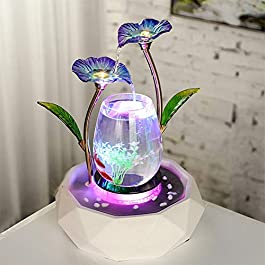 HEARINGAID Mini Fish Tank, Fountain Waterscape LED Light Crystal Lotus Living Room Office TV Cabinet Home Decoration