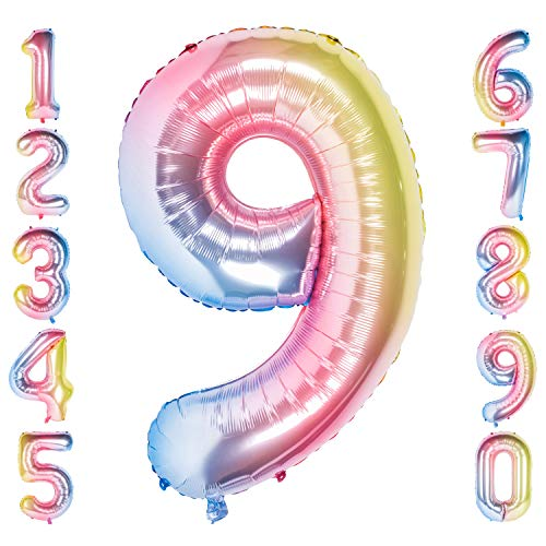 CHANGZHONG 40 Zoll 0 to 9 in Regenbogen Nummer Folienballon Helium Zahlenballon Luftballon Riesenzahl Party Hochzeit Kindergeburtstag Geburtstag (Number 9)