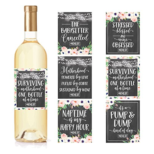 6 Chalk Mommys First Milestone Stickers or Wine Labels, Great Baby Shower Gift Ideas For Mom To Be, Funny Moms First Moments Having New Baby Girl or Boy, 1st Date Night With Dad & More