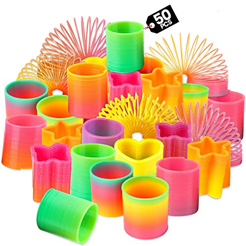 Rainbow Spring Toy Assortment - (Pack of 50) Mini Plastic Coil Spring Toy   Bright Colors and Shapes, Goody Bag Filler, Party Prizes and Stocking Stuffers for Kids by Bedwina