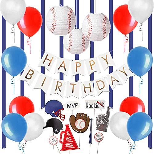 Easy Joy Geburtstag Dekoration Baseball Foto Requisiten Kinder Geburtstag Party Deko Happy Birthday Girlande Kugeln Ballons Set