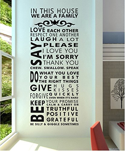 Family/House Rules/Quotes/Saying we are a Family Decorative Pattern Fashion Wall Stickers Decal Decor for Home Decoration