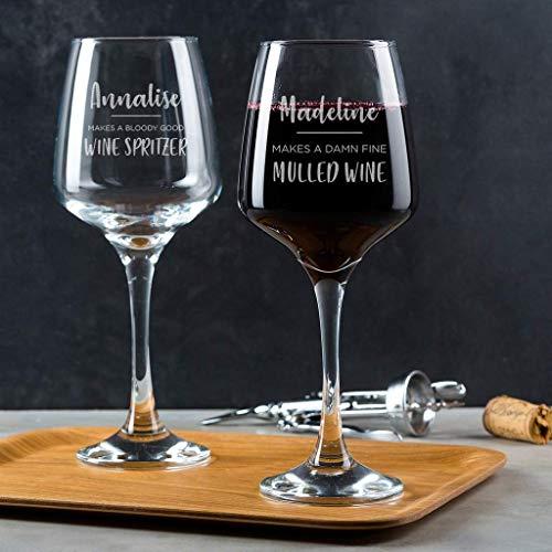 Personalisiertes Weinglas für Frauen und Männer - originelles Wein Geschenk für sie und ihn - Geburtstagsgeschenk für Freunde Freundinnen - Weinglas mit Gravur - Wein Spritzer Glühwein Weinschorle