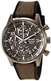 Seiko Men's Chronograph/Essentials Stainless Steel Japanese Quartz With Silicone Strap, Brown (Model: SSB371)