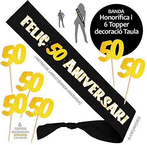 Inedit Festa Feliços 50 Anys Banda 50 anys per molts anys Banda Honorífica Feliç 50 Aniversari y 6 Topper (Català) 1969 Vas néixer