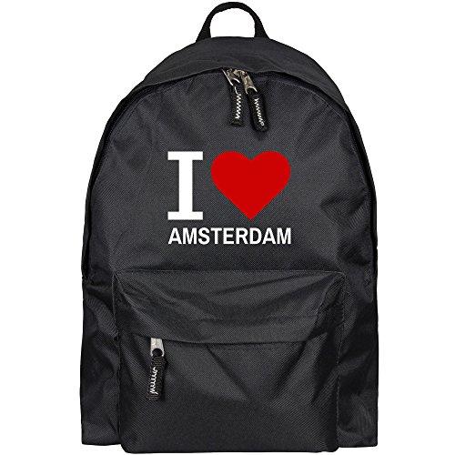 Rucksack Classic I Love Amsterdam schwarz - Lustig Witzig Sprüche Party Tasche