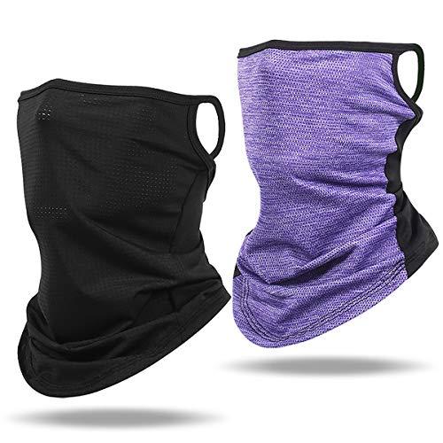WERFORU Multifunktionstuch Für Herren Damen Schlauchschal mit ohrschlaufen Halstuch Mundschutz Mund und Nasenschutz Biker Schlauchtuch 2 Stück