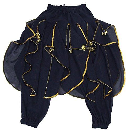 DFギャラリー ハーレムパンツ ベリーダンス衣装 玉飾り付 BA0416 ブラック キッズフリー(100〜140cm)