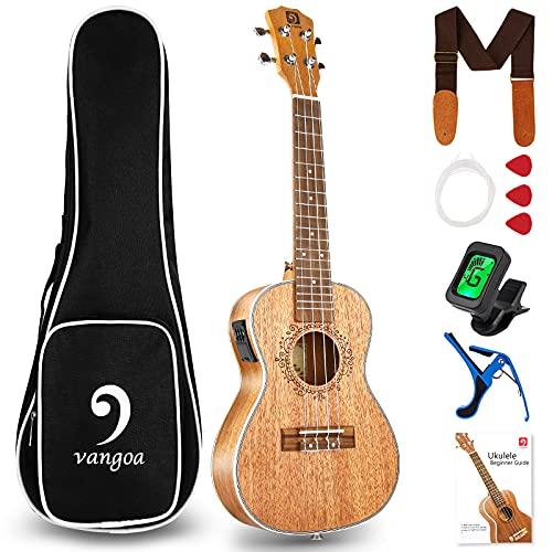 Vangoa Acoustic Electric Ukulele Tenor Mahogany 26 Inch Electro Ukulele Beginner Kit with User Manual, Cable and Gig Bag