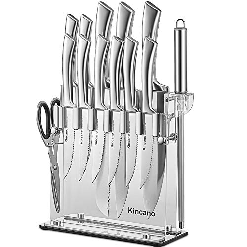 Knife Set, 14 PCS High Carbon Stainless Steel Hollow Handle Kitchen Knife Block Set, Super Sharp Knife Set with Acrylic Stand, Sharpener and Scissors, Ergonomical Design