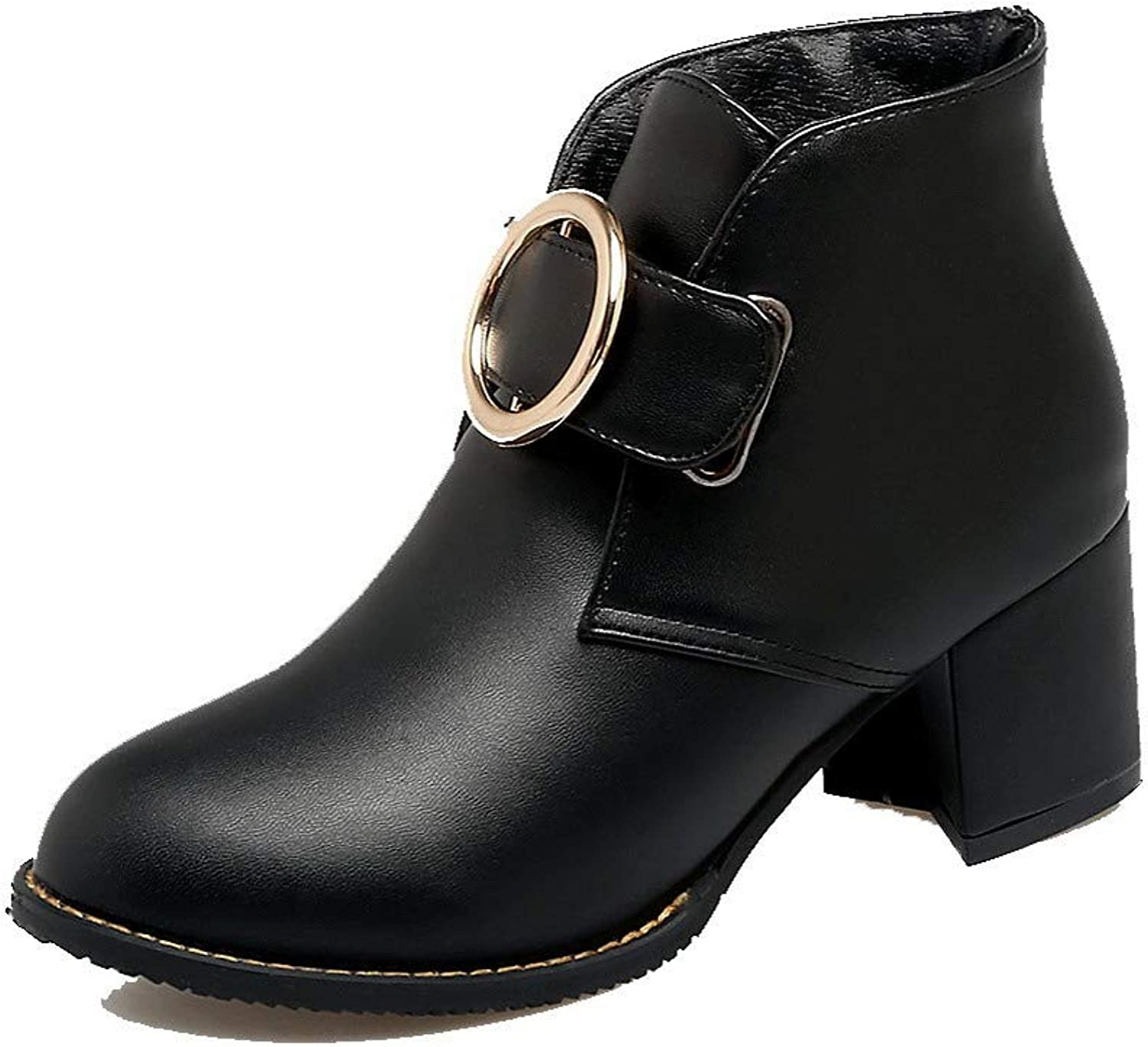 WeiPoot Women's Kitten-Heels Solid Closed-Toe Pu Hook-and-Loop Boots, EGHXH127404