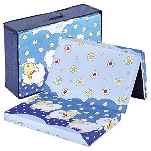 Bambini Reisebettmatratze Reisematratze Schäfchen 120x60 | Höhe 6 cm | Klappbar | Bezug abnehmbar und waschbar