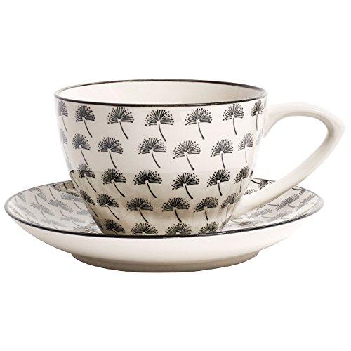 Nordal - Blossom Dandelion - Motiv: Löwenzahn - Teetasse - Tasse mit Untertasse - XL - schwarz 350 ml