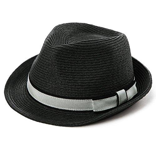Comhats Unisex Sonnenhut Stroh Panama Fedora Strandhut Kurze Krempe schwarz M