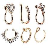 JFORYOU 6Pcs Nose Rings Fake 16G Stainless Steel Inlaid CZ Faux Piercing Jewelry Fake Nose Ring Spring Clip on Circle Hoop No Pierced Septum Nose Ring Women Men