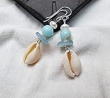 Muschel, Aquamarin, Jade, Süßwasser Perlen, Silber Ohrringe*Boho*Strand Schmuck*Hochzeit*Surf Schmuck* Natur...