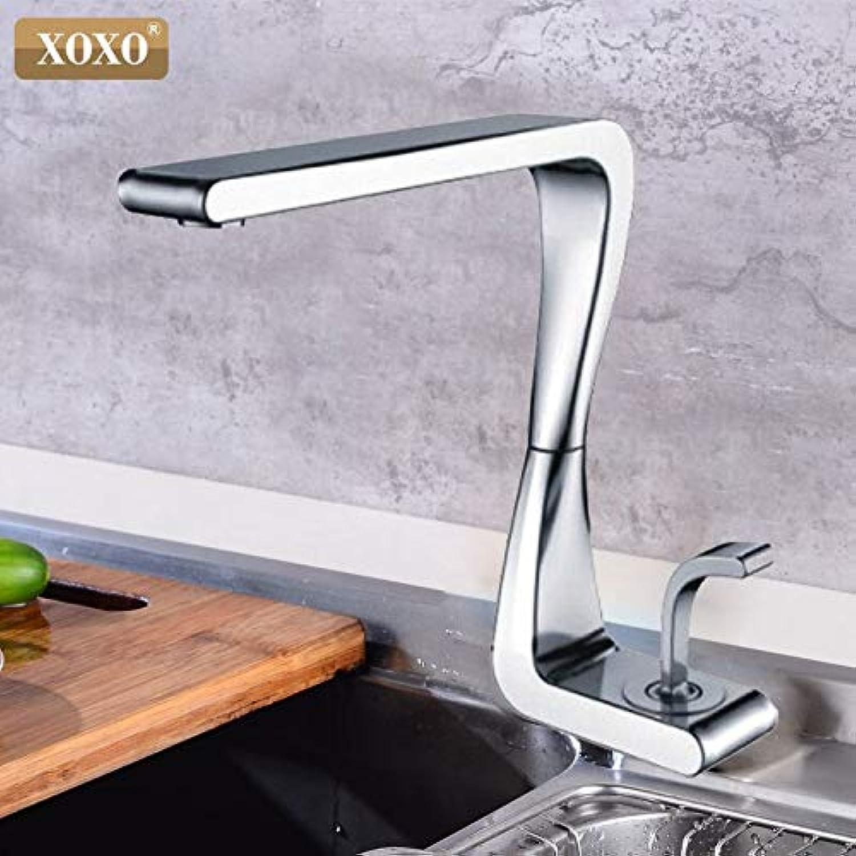 CZOOR Küchenarmatur kaltes und warmes Wasser modernen Stil Torneira Cozinha Einhand 360-Grad-Drehung Mischbatterie Wasserhahn, Chrom