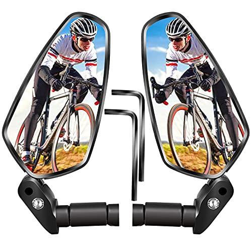 Lenkerenden Fahrradspiegel,2 Pack HD Weitwinkel Fahrrad Rückspiegel, 360° Verstellbarer Lenker Sicherer Konvexer Fahrrad Spiegel für MTB Rennrad Faltrad Ebike