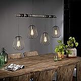 famlights Esszimmer Lampen Hängend Vintage | Vintage Lampe silber| Landhaus Deko / 4-flammig Dimmbar Fassung: E27 Küchenlampe Retro | Pendellampe / E27