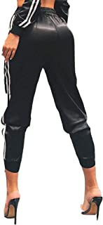 Women Side Stripe Cropped Sports Sweatpants Jogger Pants Drawstring Waist Tracksuit Bottoms with Pockets for Running Worko...