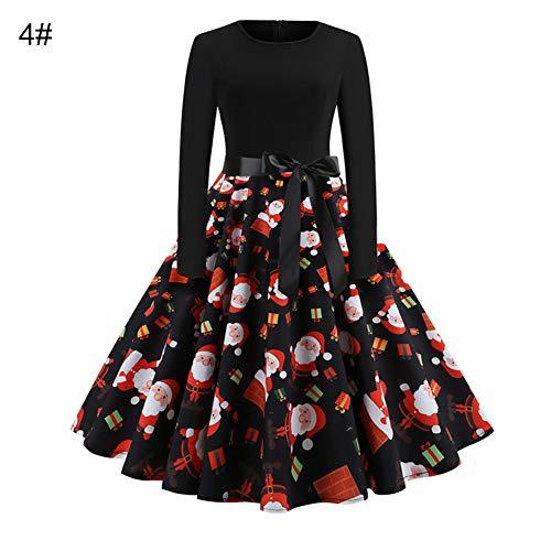 Lai-LYQ Mode Vrouwen A-lijn Jurk Sneeuwvlok Print O Nek Boog Riem Lange Mouw Kerstmis Stijl Kostuum Party Jurk