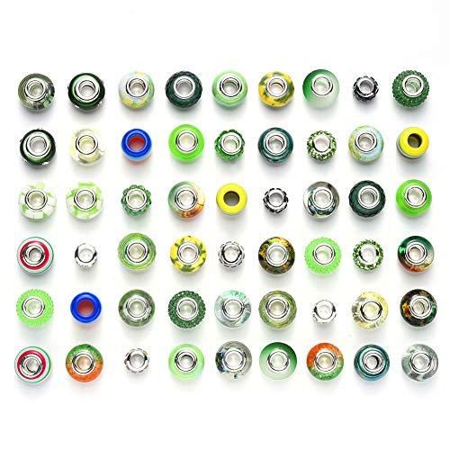 54 piezas de resina de imitación de cristal europeo de gran agujero cuentas de diamantes de imitación de metal espaciador de abalorios surtidos para manualidades, pulseras, collares y joyería (verde)