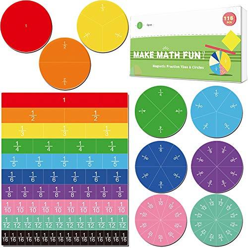 Magnetic Fraction Tiles & Circles 19 Set 118 Pcs, Opret Rainbow Math Manipulatives for Preschool Elementary School Educational Resources Classroom Educational Kit Christmas Gift