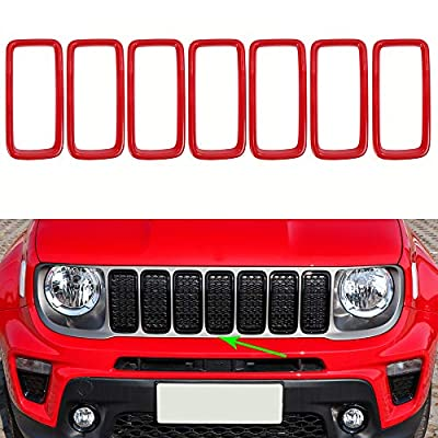 Oubolun Front Grill Grille Inserts for Jeep Renegade 2019-2020 Car Exterior Accessories ABS Grill Guard Cover Trim - Red (Pack of 7)