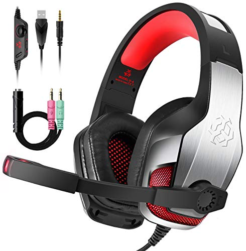 Cocoda Gaming Headset, Headsets with Microphone, LED Light, Adjustable Headband & 50mm Drivers, Stereo Game Headphones Compatible with Nintendo Switch / Laptop / PC / Computer / iPad / MAC