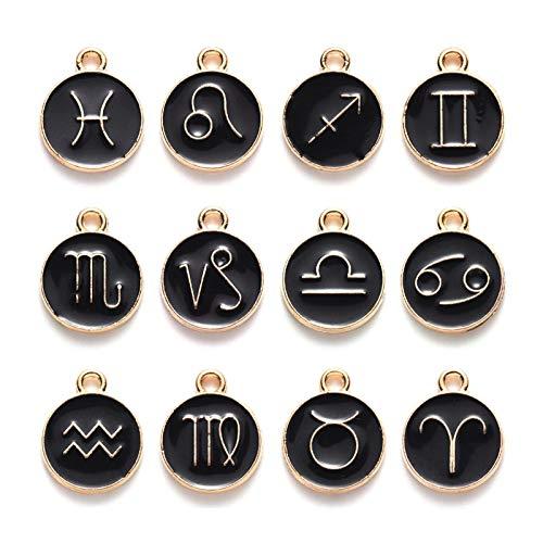 mooderf Juego de 12 abalorios de aleación con diseño de constelación, para hacer joyas, accesorios elegantes para collares, pulseras, accesorios para hacer joyas