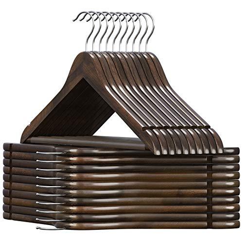 SONGMICS Kleiderbügel Holz, für Anzüge, 20er Set, Jackenbügel Massivholz, Einkerbungen im Schulterbereich, rutschfest, Jacken, Hemden, Hosen, um 360° drehbarer Haken, dunkel nussbaumfarben CRW02V20