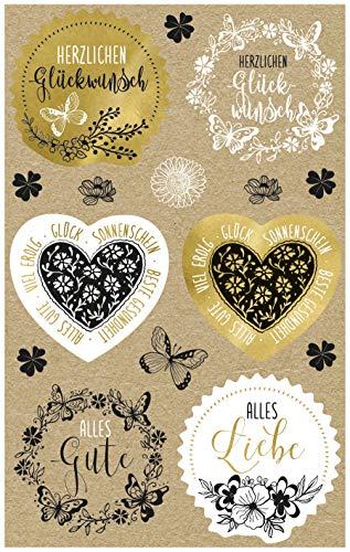 AVERY Zweckform Kraftpapier Aufkleber 30 Sticker Glückwünsche (Papier Sticker, Geschenkaufkleber, natur, braun, beige) 57122