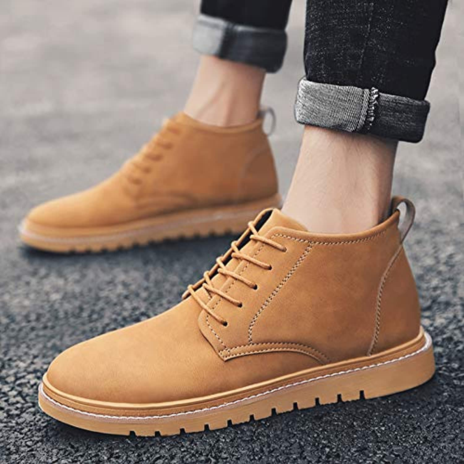 Shukun Men's boots Boots Men'S Martin Boots Men'S Boots Autumn Youth Wild High Help Tool Boots Casual shoes