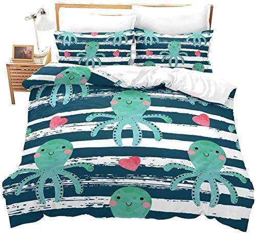 Evvaceo Juego de cama infantil 3 piezas funda nórdica linda vida marina pulpo rayas azules 135 cm x 200 cm con 2 fundas de almohada 3D (individual)