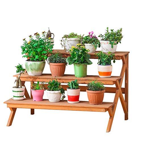 WYJW Bloemenstandaard voor planten staat op 3 niveaus ladder bloemen houten tuinplant pot bloemhouder bloempot houder plank - hout kleur - L88XD60XH59cm binnen of buiten