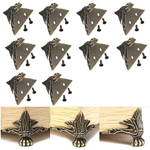 VinBee 10 PCS Antique Brass Wood Case Jewelry Chest Storage Box Feet Leg Corner Protector