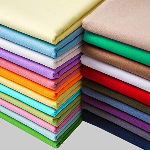 15.7'x19.7' Bright Solid Colors Printed Cotton Fabric Bundles Assorted Patchwork Cloth DIY Sewing Quilting Crafting Fabric for Baby Childrens, 20 Colors (20pcs)