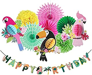 Tropical Birds Happy Birthday Honeycomb Paper Flowers Bird Ornament Parrot Honeycomb Party Hanging Decorations for Kids Bi...