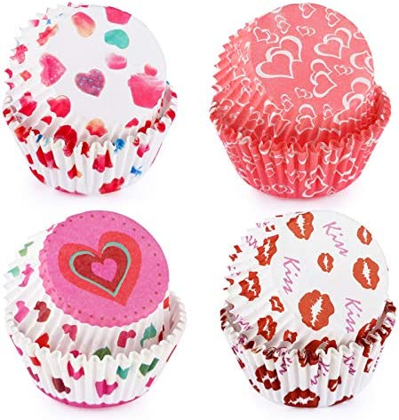 Konsait 100pcs Valentines Cupcake Wrappers and Toppers Heart Lip Cupcake Toppers Cake Table product image